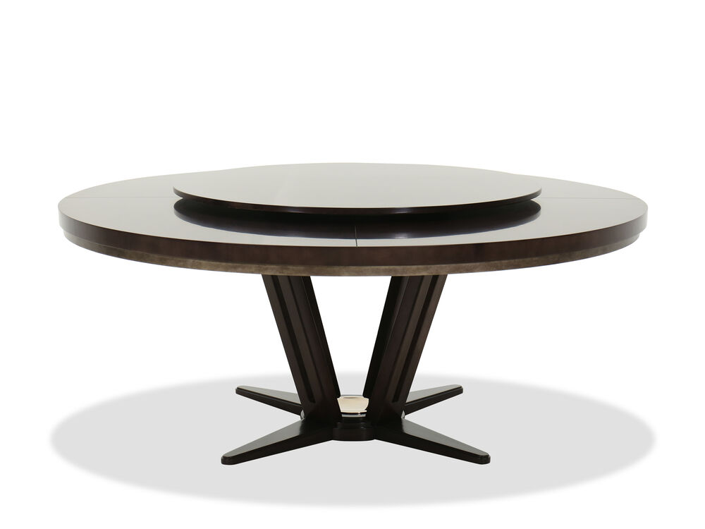"""Contemporary 72"""" Round Dining Table in Brown"""