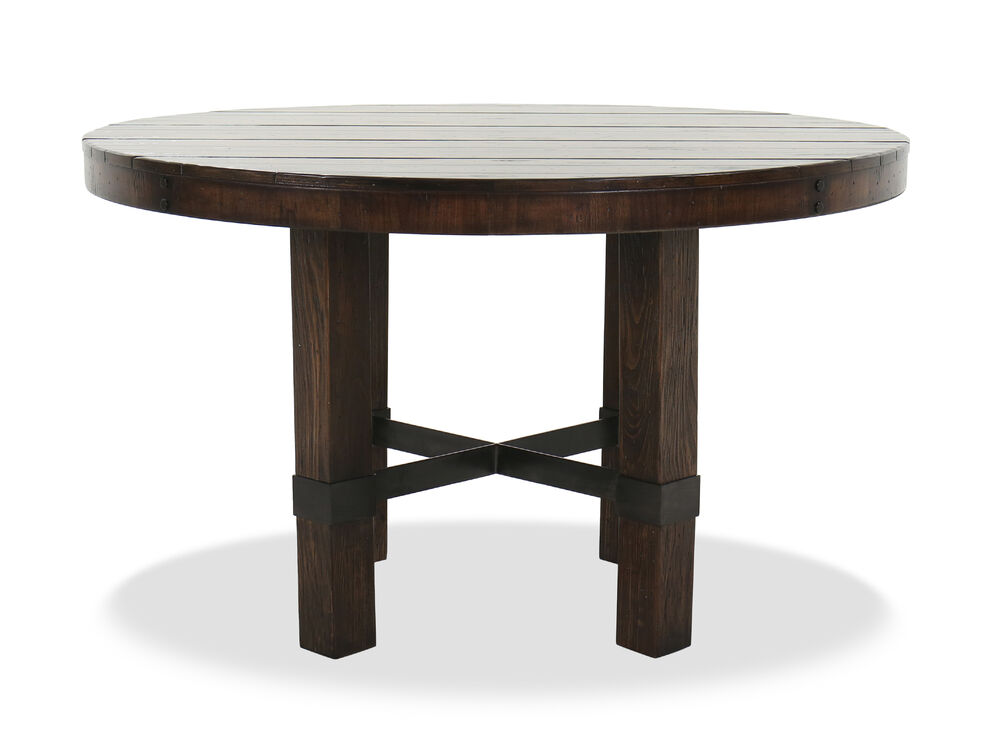 """Casual 60"""" Stretcher Base Dining Table in Dark Walnut"""