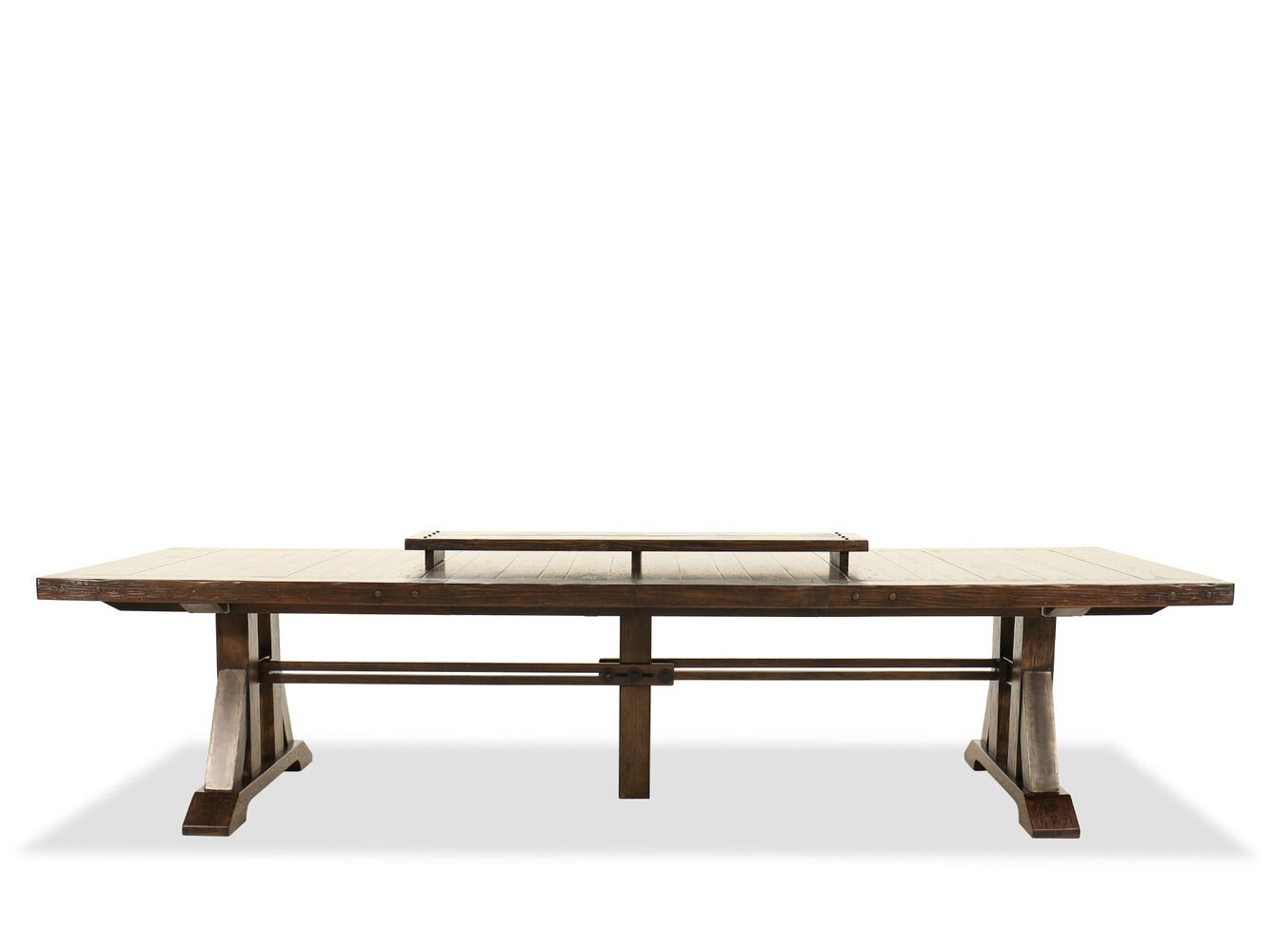casual 90 extendable trestle dining table in rustic walnut mathis brothers furniture. Black Bedroom Furniture Sets. Home Design Ideas