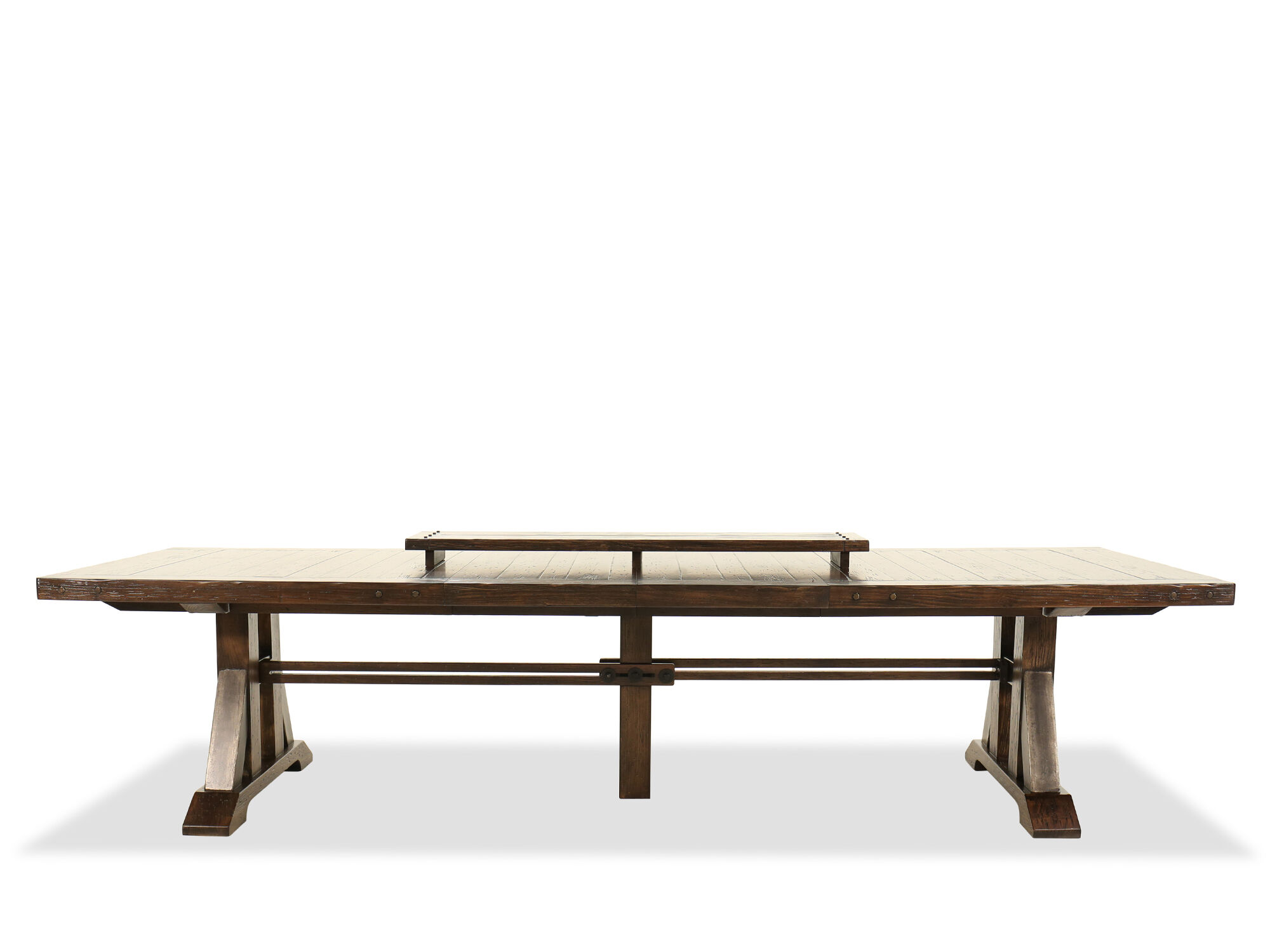 Casual 90 Extendable Trestle Dining Table In Rustic Walnut Mathis