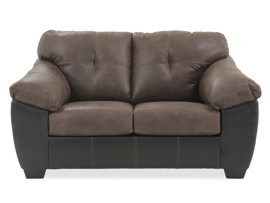 """Two-Tone Contemporary 68"""" Loveseat in Coffee"""