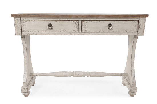 Two-Drawer Country Console Table in Aged Ivory