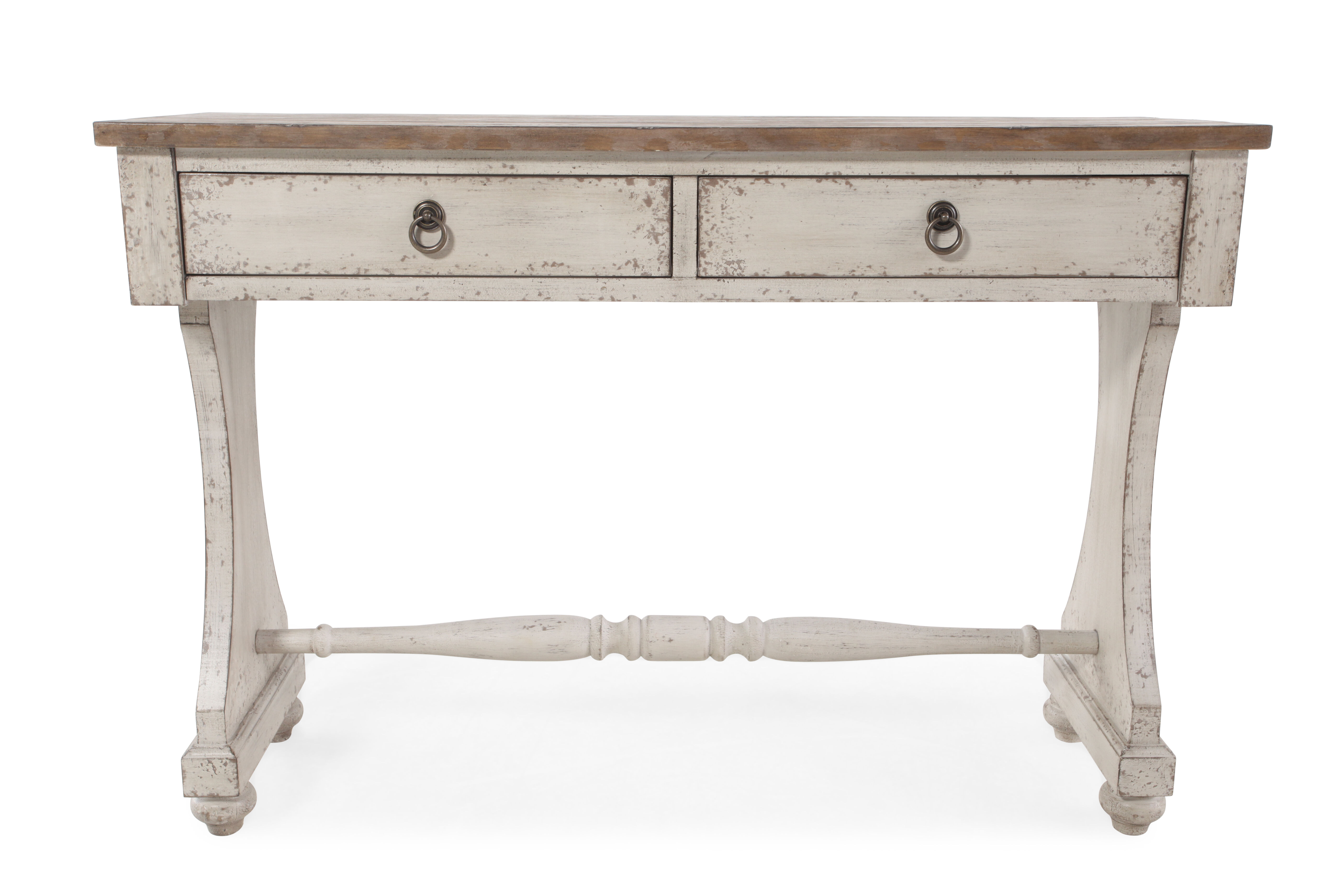 Two Drawer Country Console Table In Aged Ivory ...