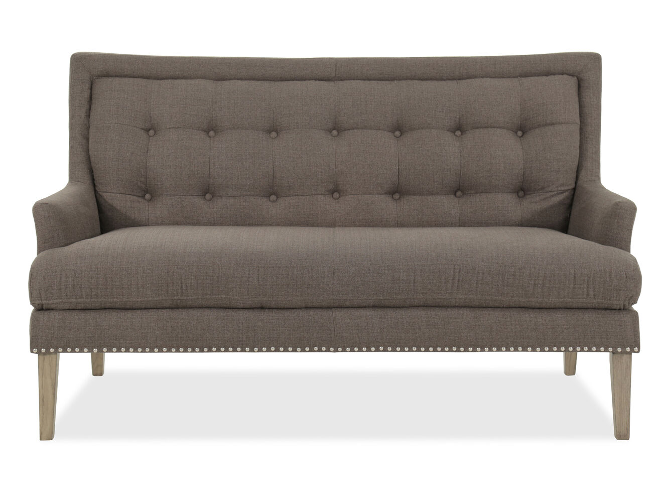 Button tufted 62 settee in gray mathis brothers furniture for Button tufted chaise settee