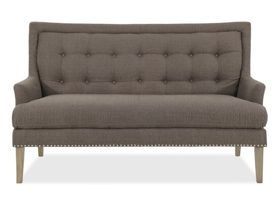 "Button Tufted 62"" Settee in Gray"