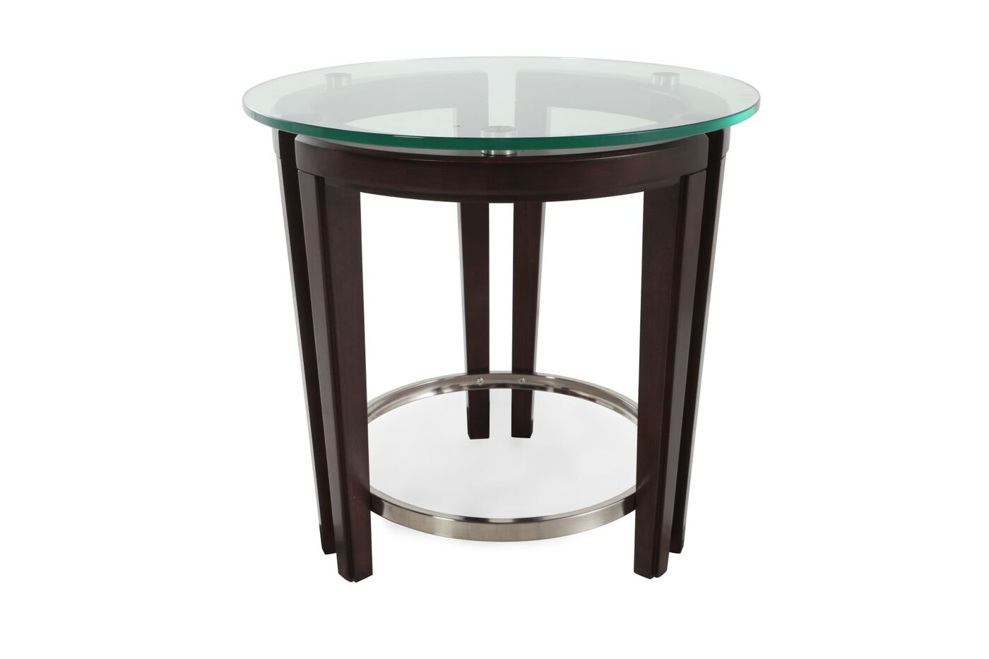 Round Tempered Glass Contemporary End Table In Dark Hazelnut Mathis Brothers Furniture