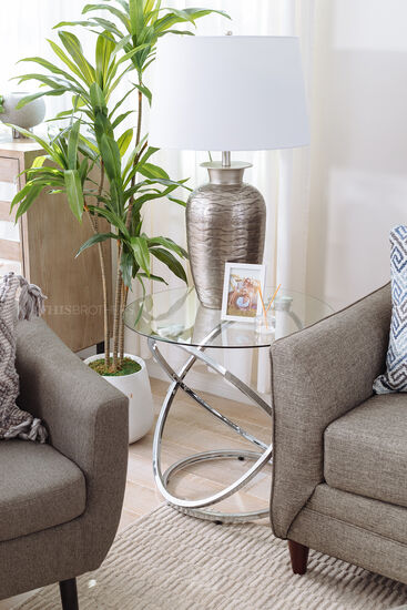 Three-Piece Contemporary Occasional Table Set in Chrome