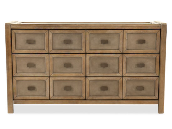 Casual Paneled Six-Drawer Dresser in Brown