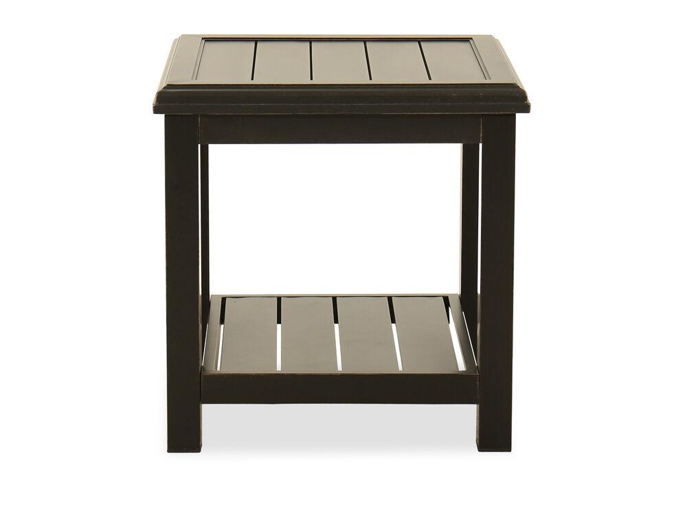 Aluminum Square End Table in Dark Brown