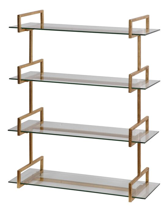 Tempered Glass Wall Shelf in Gold Leaf