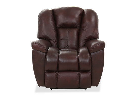 "Casual 38"" Leather Wall-Saver Recliner in Burgundy"