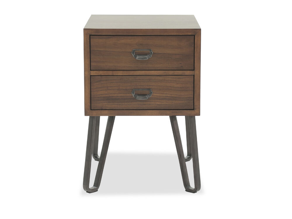 mid century modern two drawer end table in brown mathis brothers furniture. Black Bedroom Furniture Sets. Home Design Ideas