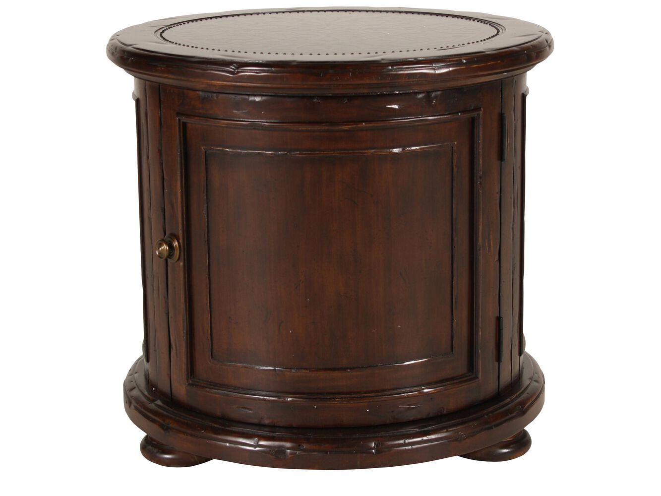 distressed round traditional drum table in deep brown mathis brothers furniture. Black Bedroom Furniture Sets. Home Design Ideas