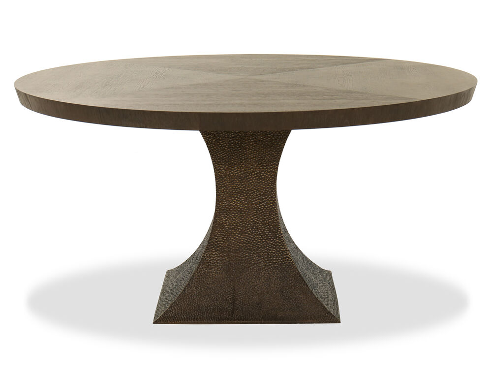 """Transitional 60"""" Round Dining Table in Antique Gold"""