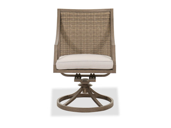 Traditional Swivel Patio Dining Chair in Brown