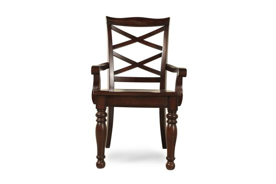 Two-Piece Double X-Back 40'' Arm Chair Set in Burnished Brown