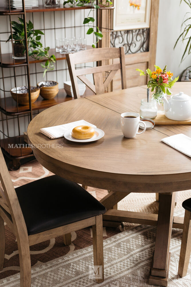 """Casual 66"""" Expandable Round Pedestal Table in Medium Brown 