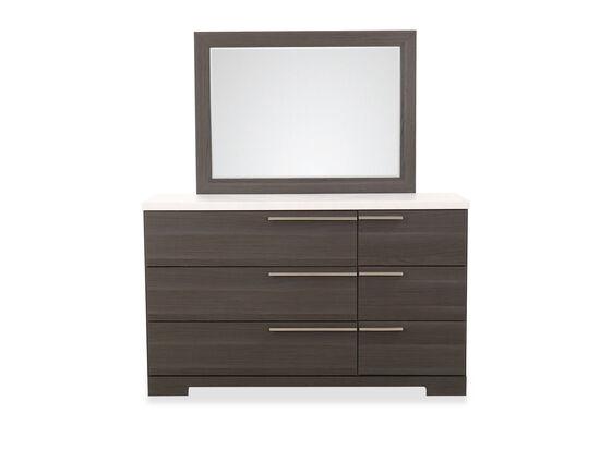 Two-Piece Contemporary Dresser & Mirror in Brown