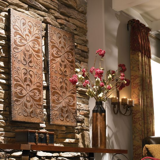 Two-Piece Scroll Pattern Distressed Wall Panels in Rust Brown