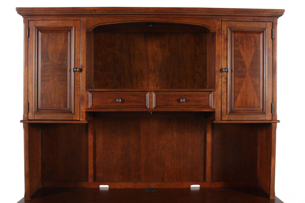 """75"""" Traditional Credenza Hutch in Mellow Brown"""