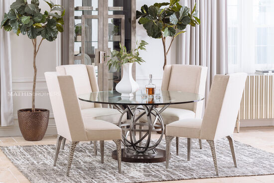 "Contemporary 60"" Round Dining Table in Silver"