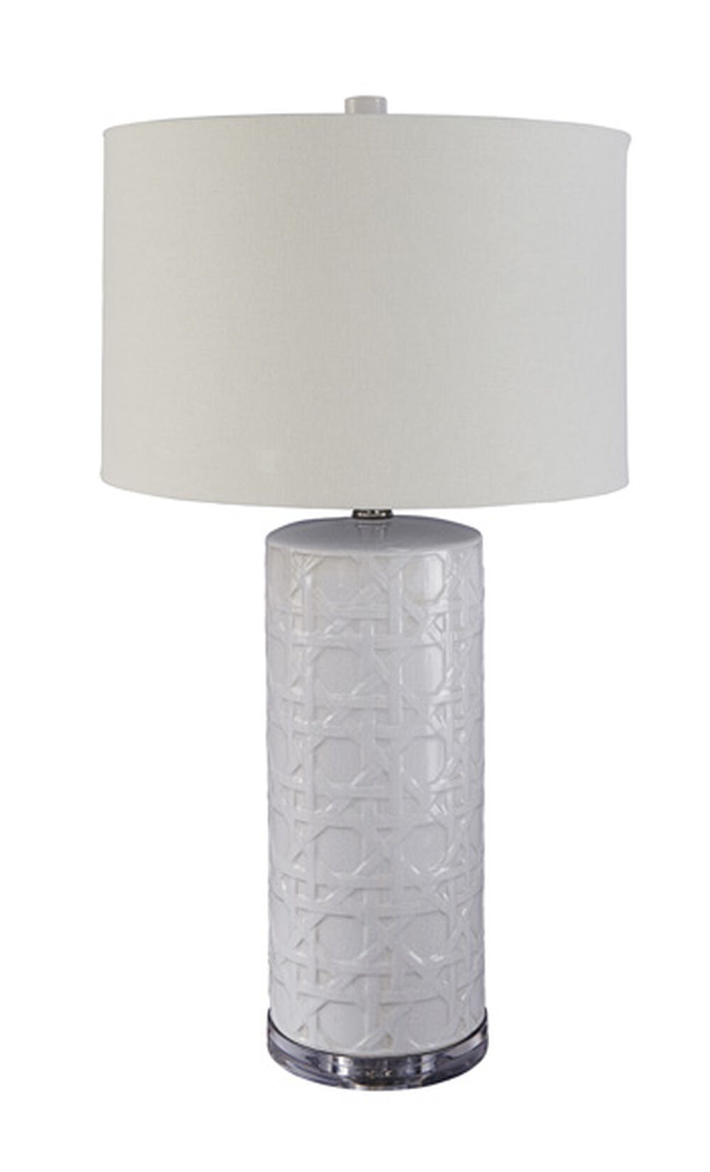 Contemporary Lattice Textured Table Lamp In White Mathis Brothers