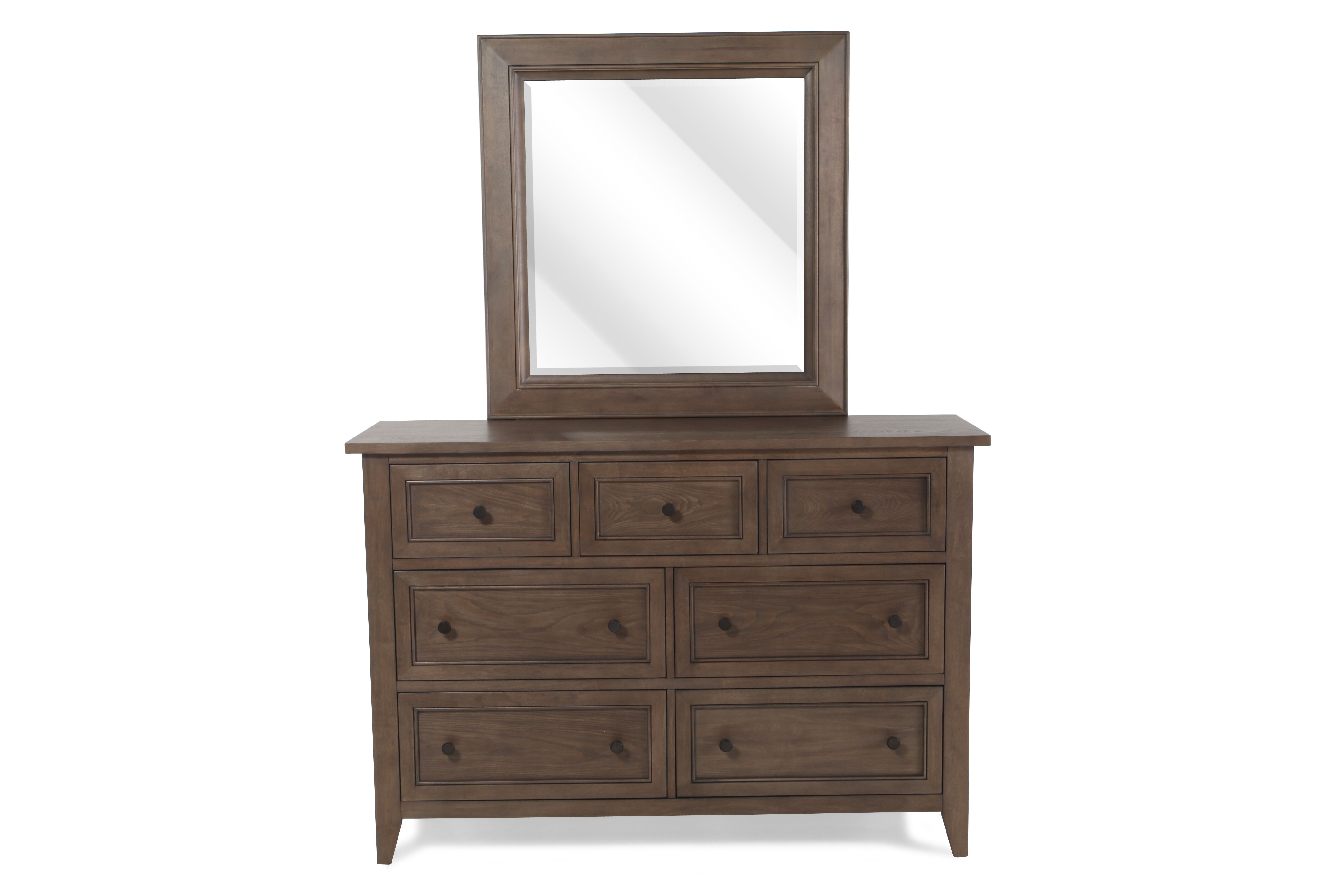 Two Piece Raised Panel Dresser And Mirror In Soft Driftwood