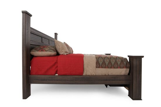 """68"""" Planked Two-Drawer Storage Bed in Aged Brown"""