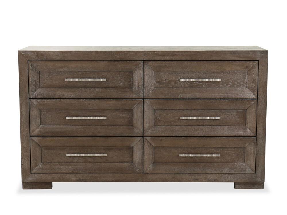 Six Drawer Wood Dresser In Dark Brown