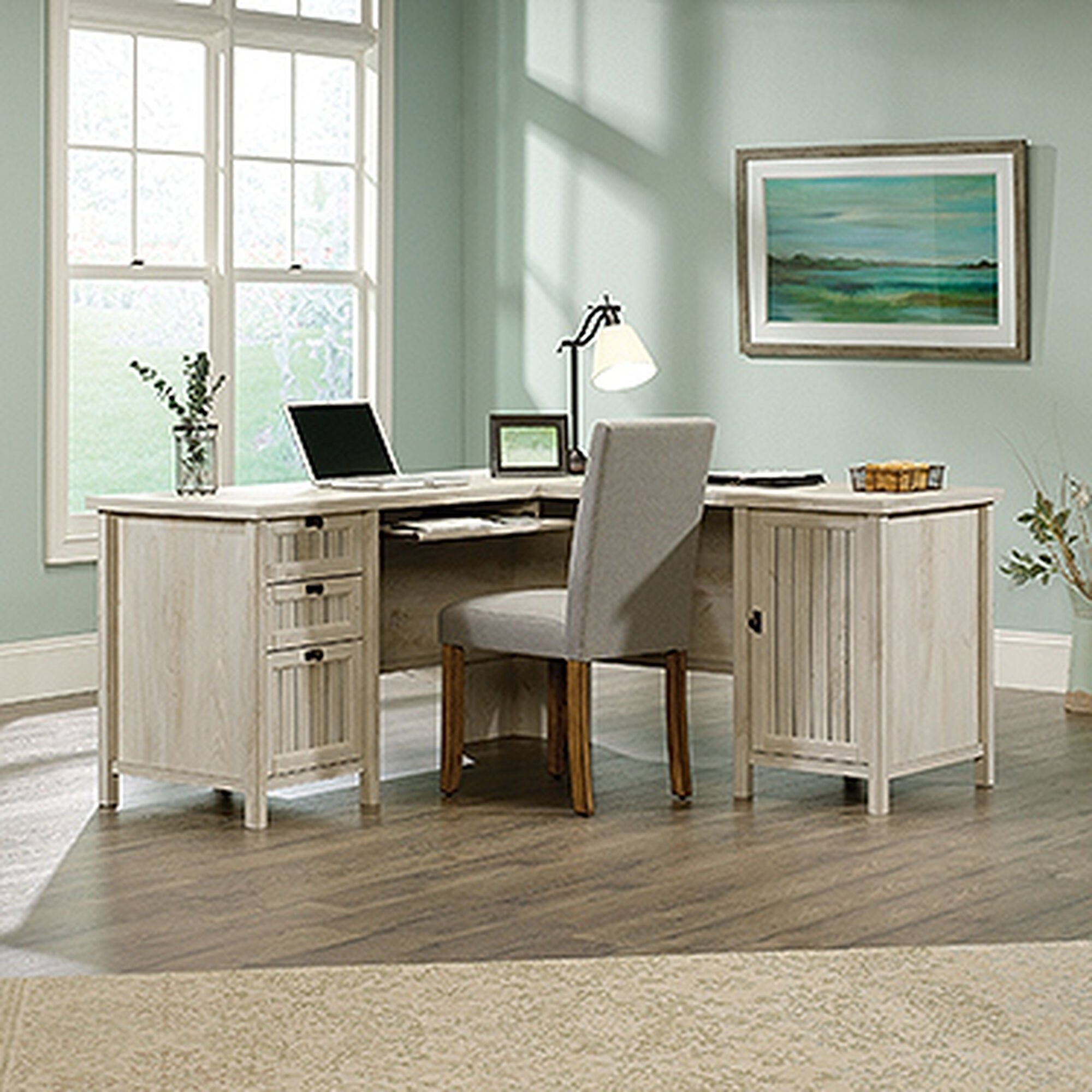 65 Contemporary L Shaped Desk In Chalked Chestnut