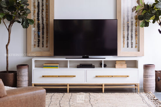 Two-Drawer Entertainment Console in White