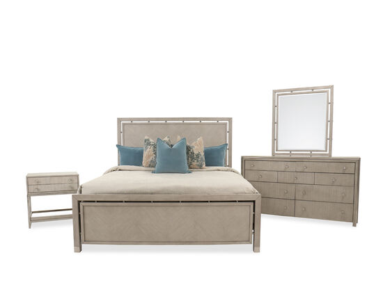 Four-Piece Contemporary King Bedroom Set in Grey Oak