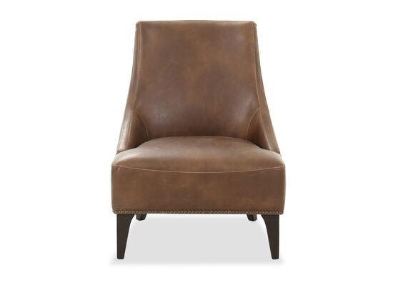 Nailhead Trimmed Leather 27.5'' Accent Chair in Brown