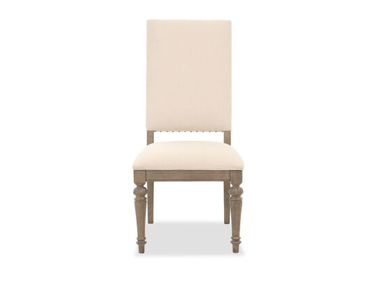 """Nailhead-Accented Traditional 42"""" Side Chair in Beige"""