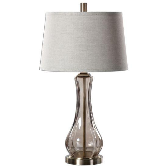 Tapered Round Hardback Shade Glass Lamp in Smoke Gray