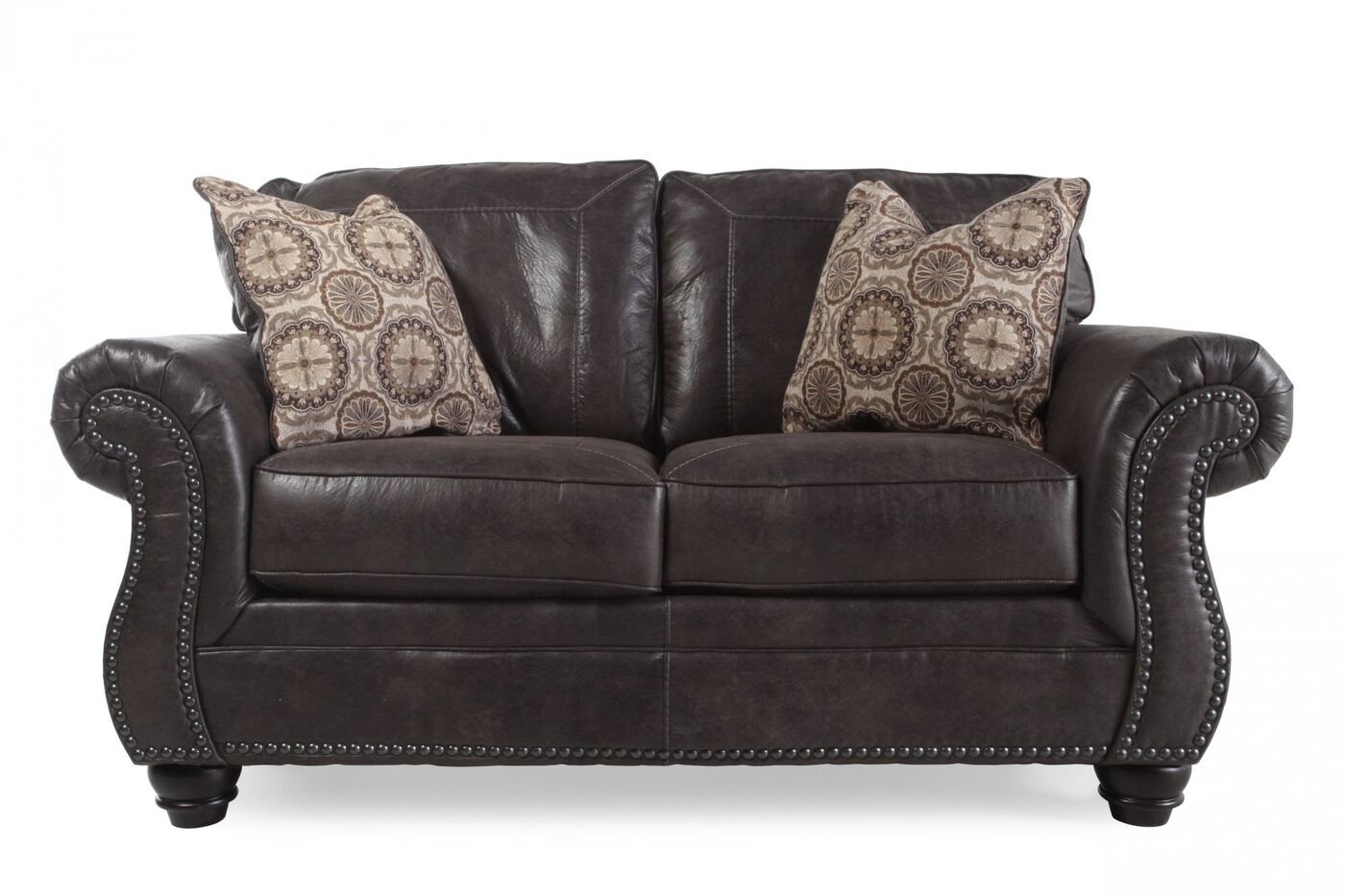 Nailhead Trimmed Traditional 66 Loveseat In Charcoal Mathis Brothers Furniture