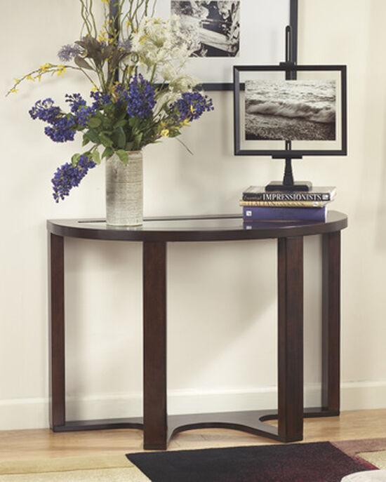 Demilune Contemporary Sofa Table in Dark Brown