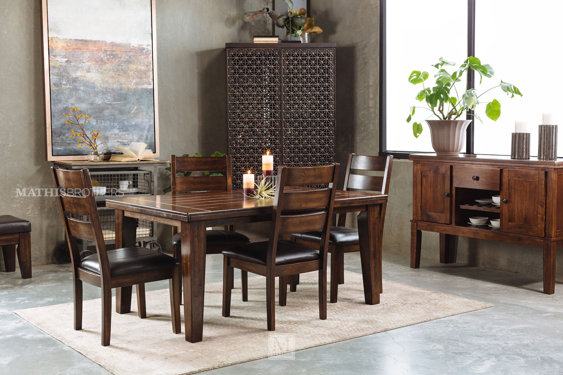 ... Five Piece Casual Dining Set In Dark Brown