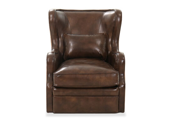 "32"" Leather Nailhead Accent Swivel Club Chair in Chocolate"