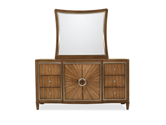 Two-Piece Traditional Dresser and Mirror in Dark Brown