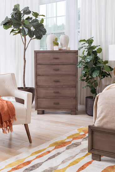 47'' Contemporary Five-Drawer Dresser in Smoky Gray