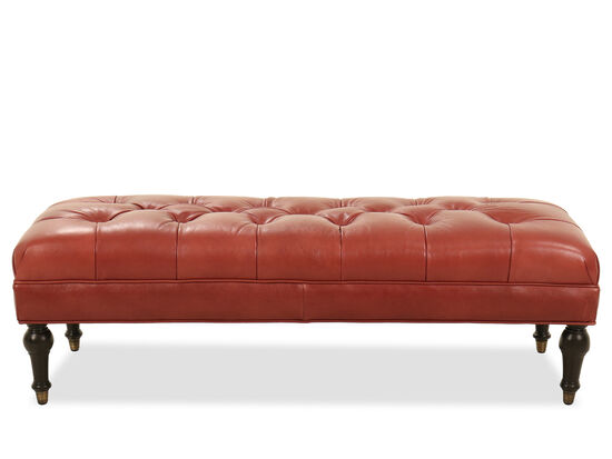 "Tufted Leather 61"" Ottoman in Red"