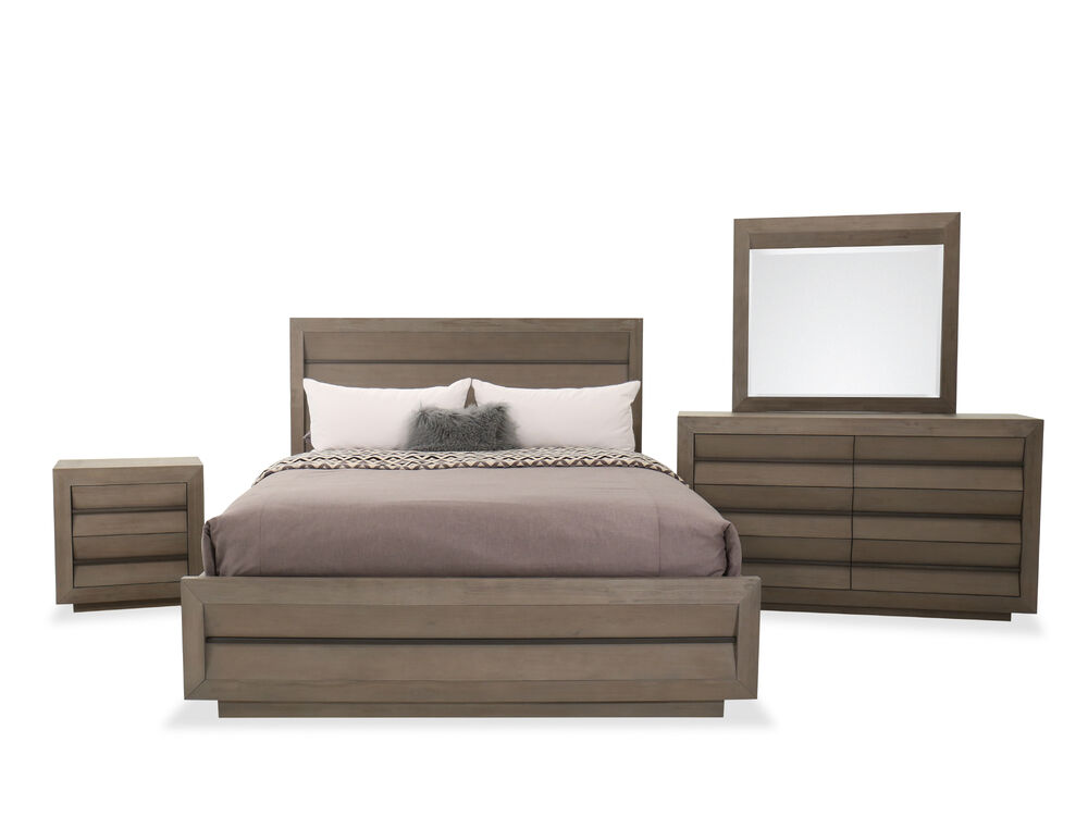 Four-Piece Wood Bed Set in Brown