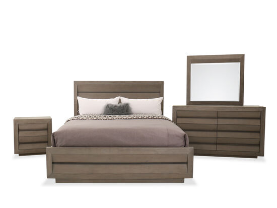 Four-Piece Wood King Bed Set in Brown