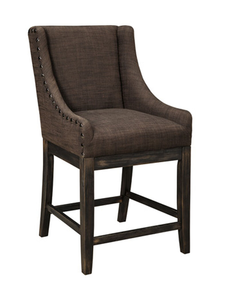 Images Casual 39 Nailhead Accented Bar Stool In Dark Gray