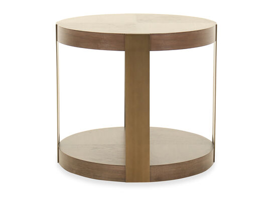 Modern Round Chairside Table in Brown