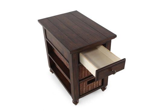 Two-Shelf Transitional Chairside Tablein Dark Walnut