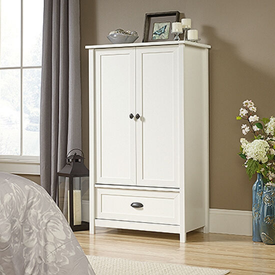 "57"" Contemporary Armoire in Soft White"