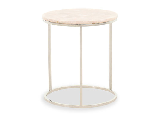 Modern Round Side Table in Silver