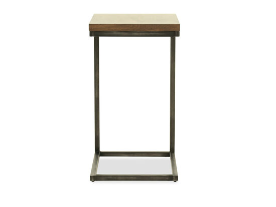 C-Shaped Chairside Table in Brown